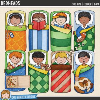 "Slumber Party Kids Clip Art: ""Bedheads"""