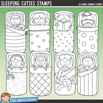 "Slumber Party Kids Clip Art: ""Sleeping Cuties"""