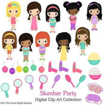 Slumber Party, girls, Children Digital Clipart, clip art