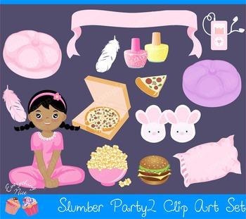 Slumber Party Sleep Over 2 Clipart Set