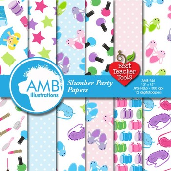 Slumber Party Digital Papers and Backgrounds, {Best Teacher Tools} AMB-946