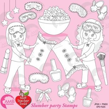 Slumber party Digital Stamps, Girls Sleep Over Clip Art, Pyjama Party, AMB-1546