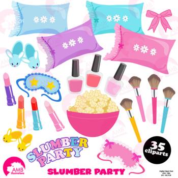 Slumber party clipart , girls sleep over clip art, pyjama party, AMB-1234