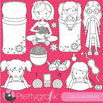 Slumber party stamps commercial use, vector graphics, images - DS523