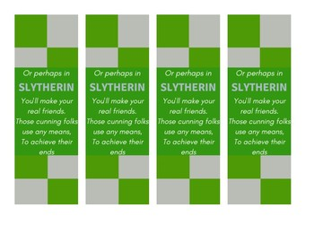 Slytherin Harry Potter House Bookmarks
