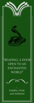 Slytherin - Harry Potter theme bookmarks in English