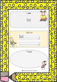 Små lydrette ord 2 - Læs, skriv og tegn