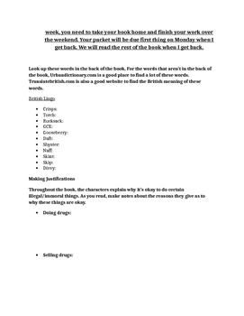Smack by Melvin Burgess Reading Packet