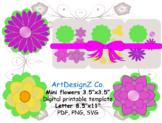 Small 3d wallflower svg template, paper flower template, g