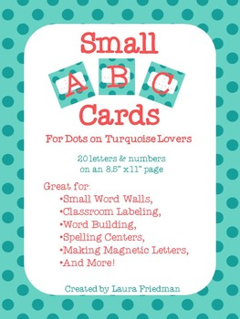 Small ABC Cards for Dots on Turquoise Lovers