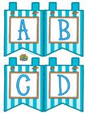"Aqua Small Alphabet Banner Flags (4 on 8.5"" x 11"")"