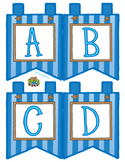 """Blue Small Alphabet Banner Flags (4 on 8.5"""" x 11"""")"""