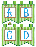 """Green Small Alphabet Banner Flags (4 on 8.5"""" x 11"""")"""