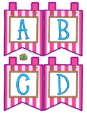 """Pink Small Alphabet Banner Flags (4 on 8.5"""" x 11"""")"""