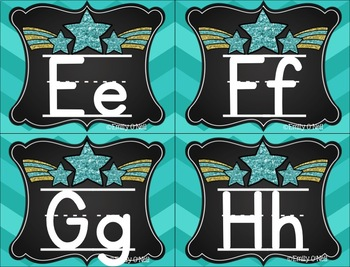 Small Alphabet (Colorful Chevron & Chalkboard Theme)
