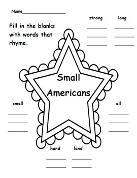 Small Americans - Poem, Word Work and Writing Activities
