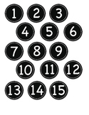 Small Black Circle Number Labels 1- 30