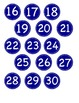 Small Bright Blue Circle Number Labels 1 - 30