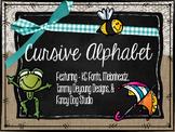Small Burlap & Chalkboard Cursive Alphabet featuring the M