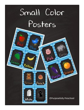 Small Chalkboard Color Posters Gingham