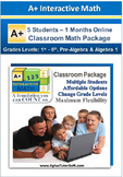Small Classroom Math Package - Grade K1- Algebra 1 (5 Students, 3-Months)