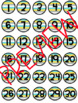Small Classroom Number Label Set 1-30