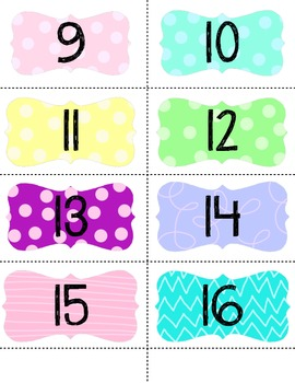 Small Colorful Number Labels 1-32