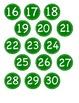 Small Dark Green Circle Number Labels 1 - 30