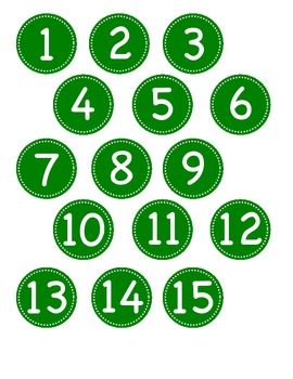 Small Dark Green Circle Number Labels 1 - 30