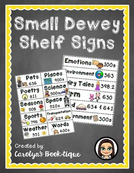 Small Dewey Shelf Signs