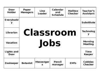 Small Footprint Classroom Jobs Sign - Editable!