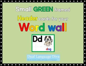 Small GREEN framed Word Wall Header Cards