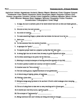 Small Group #7 - Vocabulary Puzzle Worksheet