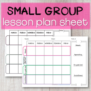 Small Group Lesson Plan Template By Little Ms Teacher Tpt