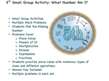 5th Grade Math Small Group Activities: What Number Am I?