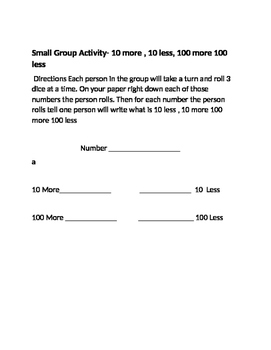Small Group Activities with 3-digit Numbers