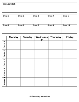 Small Group/Center Lesson Plan Template