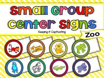 Small Group Center Signs {Zoo}