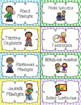 Small Group Classroom Job Cards & Charts