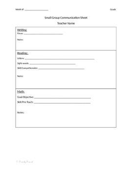Small Group Communication Sheet