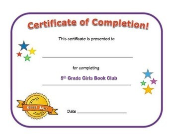 Small Group Completion Certificate: 5th Grade Girls Book Club