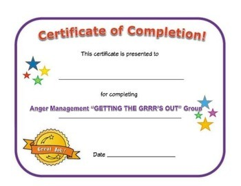 Small Group Completion Certificate: Anger Management