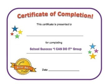 Small Group Completion Certificate: School Success