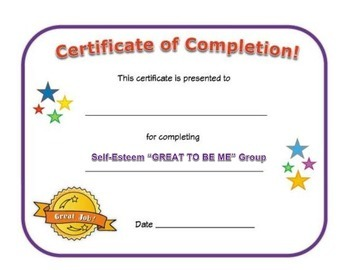 Small Group Completion Certificate: Self-Esteem