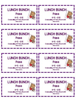 Small Group Counseling Passes, Lunch Bunch!