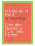 In Defense of Food by Michael Pollan: Discussion Questions