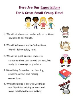 Small Group Expectations For Young Learners
