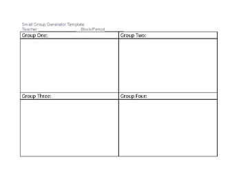 Small Group Generator Template