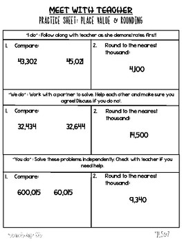 Small Group Guided Math Worksheets
