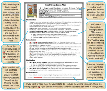 Small Group Guided Reading Lesson Plan - Gingerbread Man Loose in the School - L